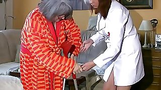 BBW chubby Nurse masturbate with old Grannie