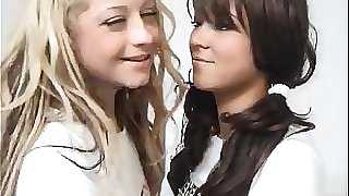 Blonde Teenager Fucks A Brunette Schoolgirl With Strapon